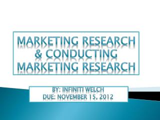 Marketing Research & Conducting Marketing Research