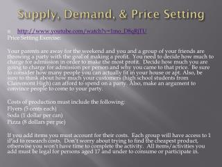 Supply, Demand, & Price Setting