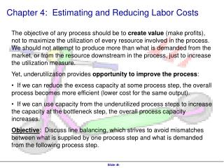 Chapter 4:  Estimating and Reducing Labor Costs