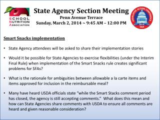 State Agency Section  Meeting Penn Avenue Terrace Sunday , March  2, 2014 ~ 9:45  AM  � 12:00 PM