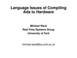 language issues of compiling ada to hardware