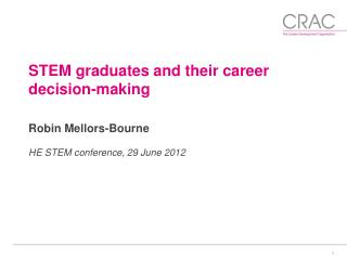 STEM graduates and their career decision-making Robin Mellors-Bourne HE STEM conference, 29 June 2012