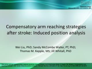 Compensatory arm reaching strategies after stroke: Induced position analysis