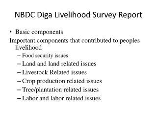 NBDC  Diga  Livelihood Survey Report