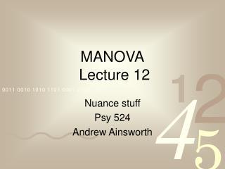 manova  lecture 12