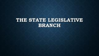 The State Legislative Branch
