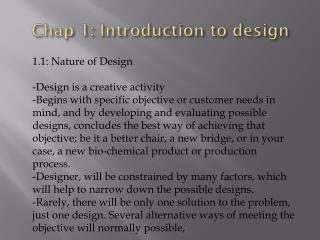 Chap 1: Introduction to design