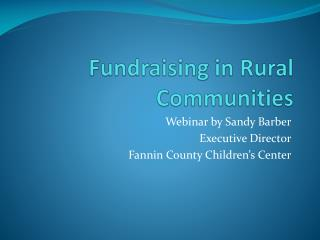 Fundraising in Rural Communities