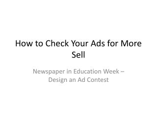 How to Check Your Ads for More Sell