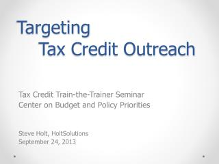 Targeting Tax Credit Outreach