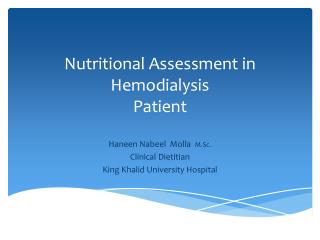 Nutritional Assessment in  Hemodialysis Patient