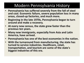 Modern Pennsylvania History