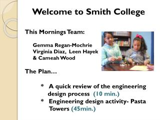 Welcome to Smith College This Mornings Team: Gemma  Regan- Mochrie Virginia Diaz,   Leen  Hayek  &  Cameah  Wood The Pl
