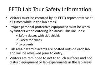 EETD Lab Tour Safety  Information