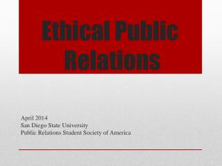 Ethical Public  Relations