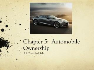 Chapter 5:  Automobile Ownership