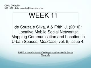 PART I-  Introduction & Defining  Locative Mobile Social Networks
