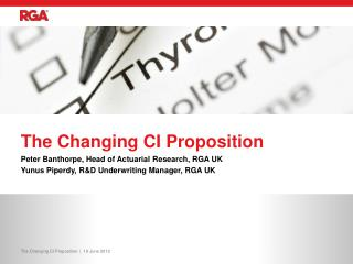 The Changing CI  Proposition