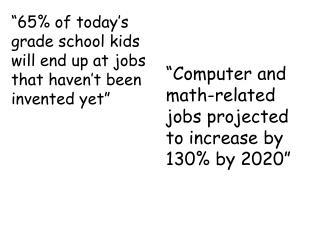 """65% of today's grade school kids will end up at jobs that haven't been invented yet"""