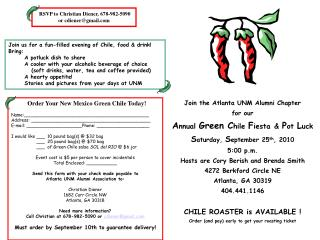 Join the Atlanta UNM Alumni Chapter for our  A nnual  Green C hile  F iesta &  P ot  L uck S aturday,  S eptember  25 t