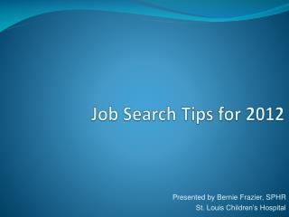 Job Search Tips for 2012