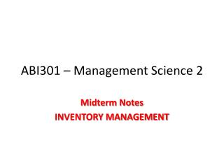 ABI301 – Management Science 2