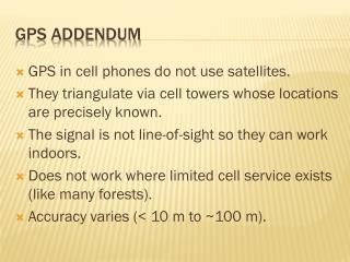GPS addendum