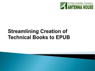 Streamlining Creation of Technical Books to EPUB