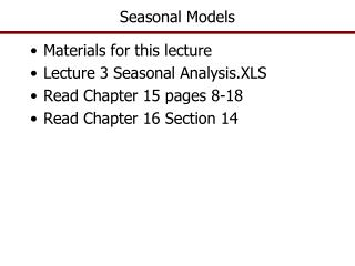 Seasonal Models