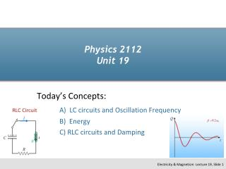 Physics 2112 Unit 19