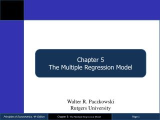 Chapter  5 The Multiple Regression Model