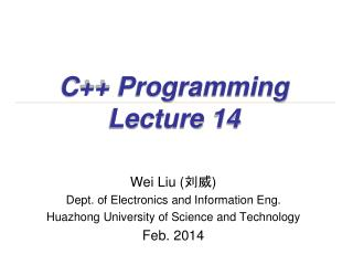 C++ Programming Lecture 14