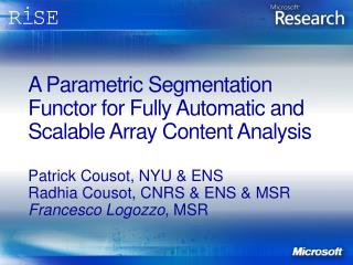 A Parametric Segmentation Functor for Fully Automatic and Scalable Array Content Analysis