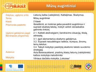 Dalykas, ugdymo sritis: Tema: Klasė:  Priemonės  paskirtis: Ugdomi  gebėjimai pagal Bendrąsias  programas: Autorius: Mo