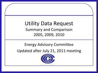 Utility Data Request Summary and Comparison 2005, 2009, 2010