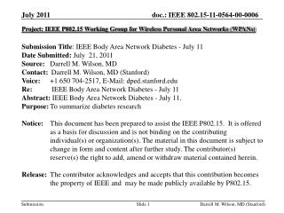 Project: IEEE P802.15 Working Group for Wireless Personal Area Networks (WPANs) Submission Title :  IEEE Body Area Netw