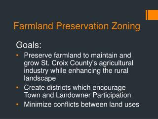 Farmland Preservation Zoning