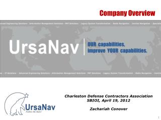Charleston Defense Contractors Association SBIOI, April 19, 2012 Zachariah Conover