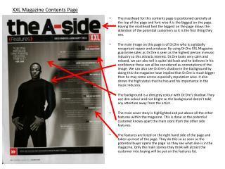 XXL Magazine Contents Page