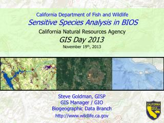 Steve  Goldman, GISP GIS Manager / GIO Biogeographic Data Branch