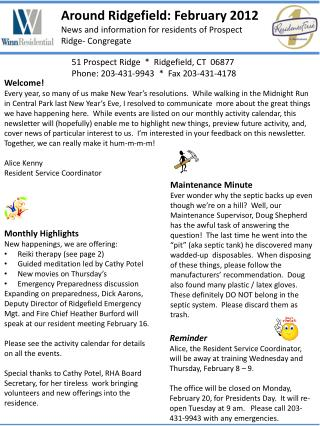 Around Ridgefield: February 2012 News and information for residents of Prospect  R idge- Congregate