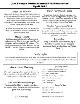 Jim Thorpe Fundamental PTA Newsletter April 2012