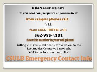 CSULB Emergency Contact Info