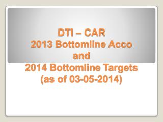 DTI – CAR 2013  Bottomline Acco and  2014  Bottomline  Targets (as of 03-05-2014)