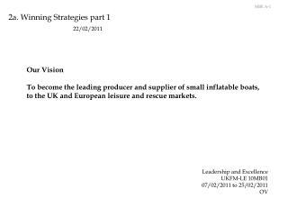2a. Winning Strategies part 1