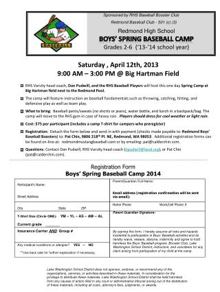 Redmond High School Boys' Spring Baseball Camp Grades 2-6  ('13-'14 school year)