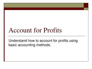 Account for Profits
