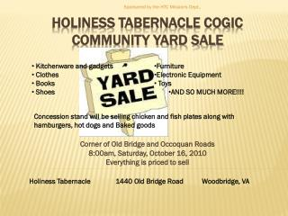 hoLINESS TABERNACLE COGIC COMMUNITY YARD SALE