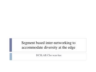 Segment based inter-networking to accommodate diversity at the edge