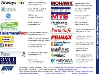 Brent Dollard  ( NS,PEI & NL Sales ) T902-832-3371,F902-832-3372,C902-222-3826,  brent@hiitekmarketing.ca